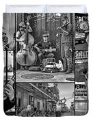 French Quarter Musicians Collage Bw Duvet Cover