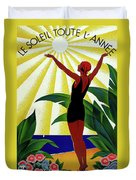 French Riviera, Girl On The Beach, France Duvet Cover