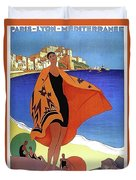 French Riviera, Woman On The Beach, Paris, Lyon, Mediterranean Railway Duvet Cover