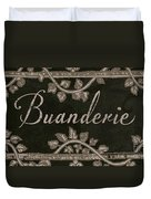 French Vintage Laundry Sign Duvet Cover