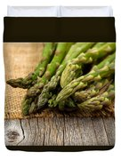 Fresh Asparagus On Napkin And Rustic Wood  Duvet Cover