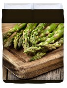 Fresh Asparagus On Rustic Wooden Server Board Duvet Cover