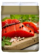 Fresh Copper River Salmon Fillets On Rustic Wooden Server With S Duvet Cover