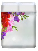 Fresh Freesia Flowers On Blue Duvet Cover