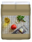 Fresh Italian Cooking Ingredients On Tile Duvet Cover