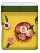 Fresh Juicy Peaches And Green Leaves Duvet Cover