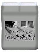 Fresh Produce Signage Black And White Duvet Cover