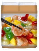 Fresh Shrimp And Peppers On White Serving Plate Ready To Eat Duvet Cover
