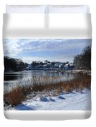 Fresh Snow Along The Creek Duvet Cover