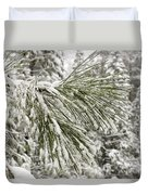Fresh Snow Covers Needles On A Pine Duvet Cover