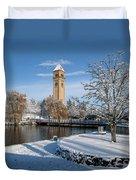 Fresh Snow In Riverfront Park - Spokane Washington Duvet Cover by Daniel Hagerman