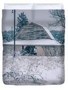 Fresh Snow Sits On The Ground Around An Old Barn Duvet Cover