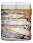 Fresh Squid On A Market Stall Duvet Cover