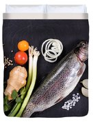 Fresh Whole Raw Fish And Herbs Displayed On Natural Slate Stone  Duvet Cover