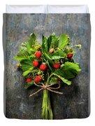 fresh Wild strawberries on wooden background  Duvet Cover