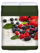 Freshly Picked Berries On Rustic White Wooden Boards Duvet Cover