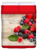 Freshly Picked Berries On Rustic Wooden Boards Duvet Cover