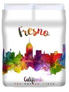Fresno California Skyline 23 Duvet Cover
