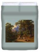 Frey  Johann Jakob 1813 Basel   1865 Frascati  Wedding Procession Of Italian Farmers Duvet Cover
