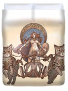Freya And Her Cat Chariot-nude Version Duvet Cover