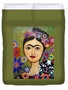 Frida Kahlo And Cat Duvet Cover