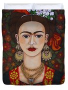 Frida Kahlo With Butterflies Duvet Cover