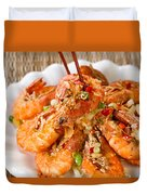 Fried Bread Coated Shrimp And Garnishes On White Serving Plate R Duvet Cover