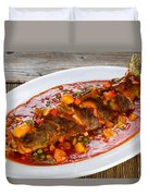 Fried Whole Fish In Sauce With Fruit And Vegetables In White Ser Duvet Cover