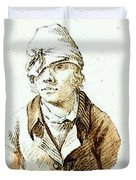 Friedrich Caspar David Self Portrait With Cap And Sighting Eye Shield Duvet Cover
