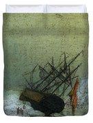 Friedrich Caspar David Wreck By The Sea Duvet Cover