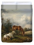 Friedrich Gauermann A Grey And A Chestnut In The Pasture  1825 Duvet Cover