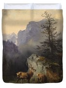 Friedrich Gauermann  Red Deer At The Watering Hole Duvet Cover
