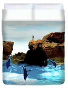 Friends With Dolphins In Colour Duvet Cover