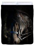 Friesian Horse Portrait Dark Duvet Cover