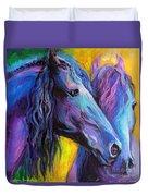 Friesian Horses Painting Duvet Cover