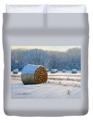 Frigid Morning Bales Duvet Cover
