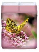 Fritillary Butterfly On Flowers Duvet Cover