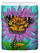 Frog And Butterfly Duvet Cover