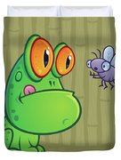 Frog And Dragonfly Duvet Cover