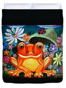 Frog And Flowers Duvet Cover