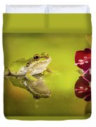 Frog And Fuchsia With Reflections Duvet Cover