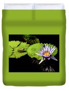 Frog And Lily Reflected Duvet Cover