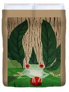 Frog And Silhouette Duvet Cover