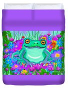 Frog And Spring Flowers Duvet Cover