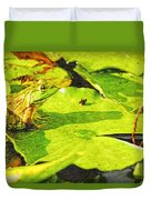 Frog On Lily Pad Duvet Cover