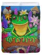 Frog On Mushroom Duvet Cover