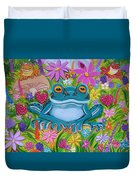 Frogs And Flowers Duvet Cover