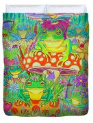 Frogs And Mushrooms Duvet Cover