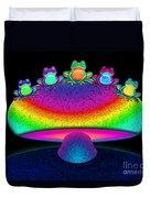 Frogs And Rainbow Mushroom Duvet Cover