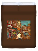 From Schwartz's To Warshaws To The  Main Steakhouse Montreal's Famous Landmarks By Carole Spandau  Duvet Cover